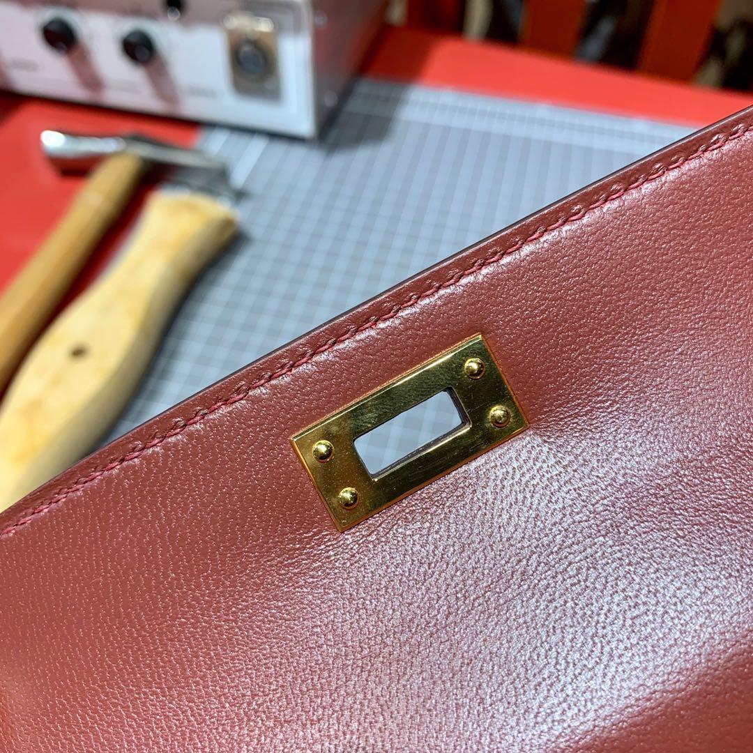 现货 爱马仕2代迷你凯莉包 Hermes Minikelly2代 57波尔多酒红顶级山羊皮 金扣