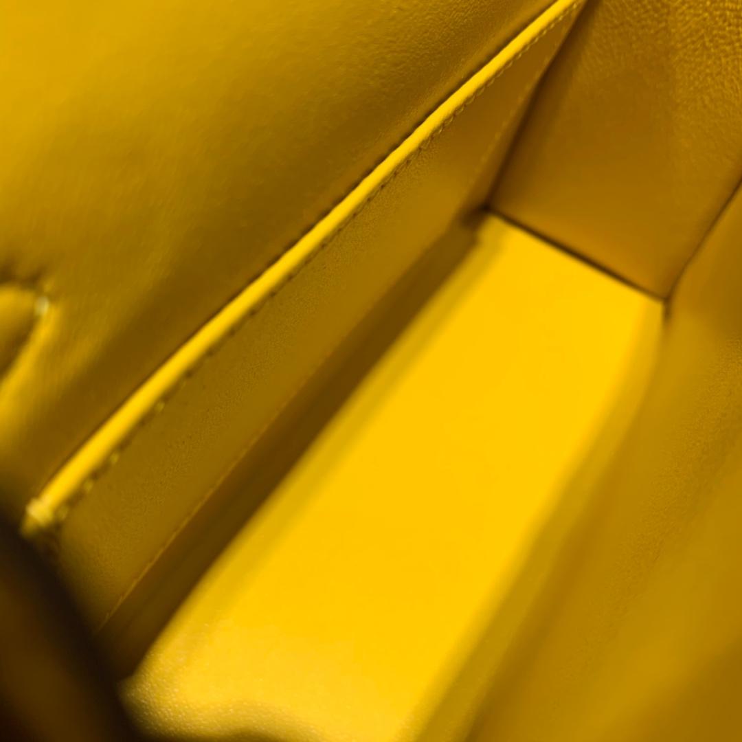 现货 Hermes Minikelly19CM 爱马仕9D琥珀黄Epsom皮迷你凯莉包2代 金银扣