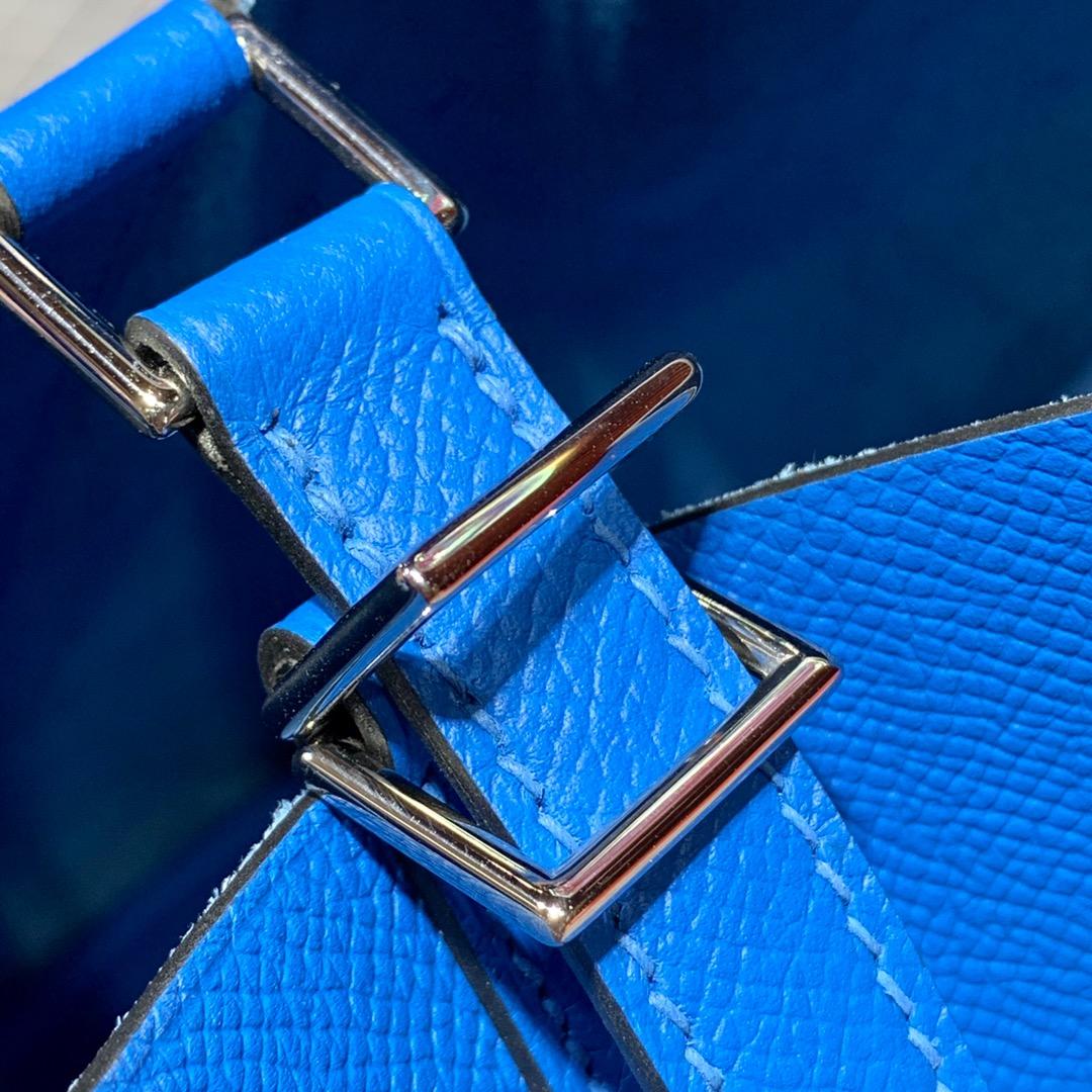 现货 爱马仕Picotin水桶包 Hermes进口Epsom皮编织手柄菜篮子包 i7琉璃蓝 银扣