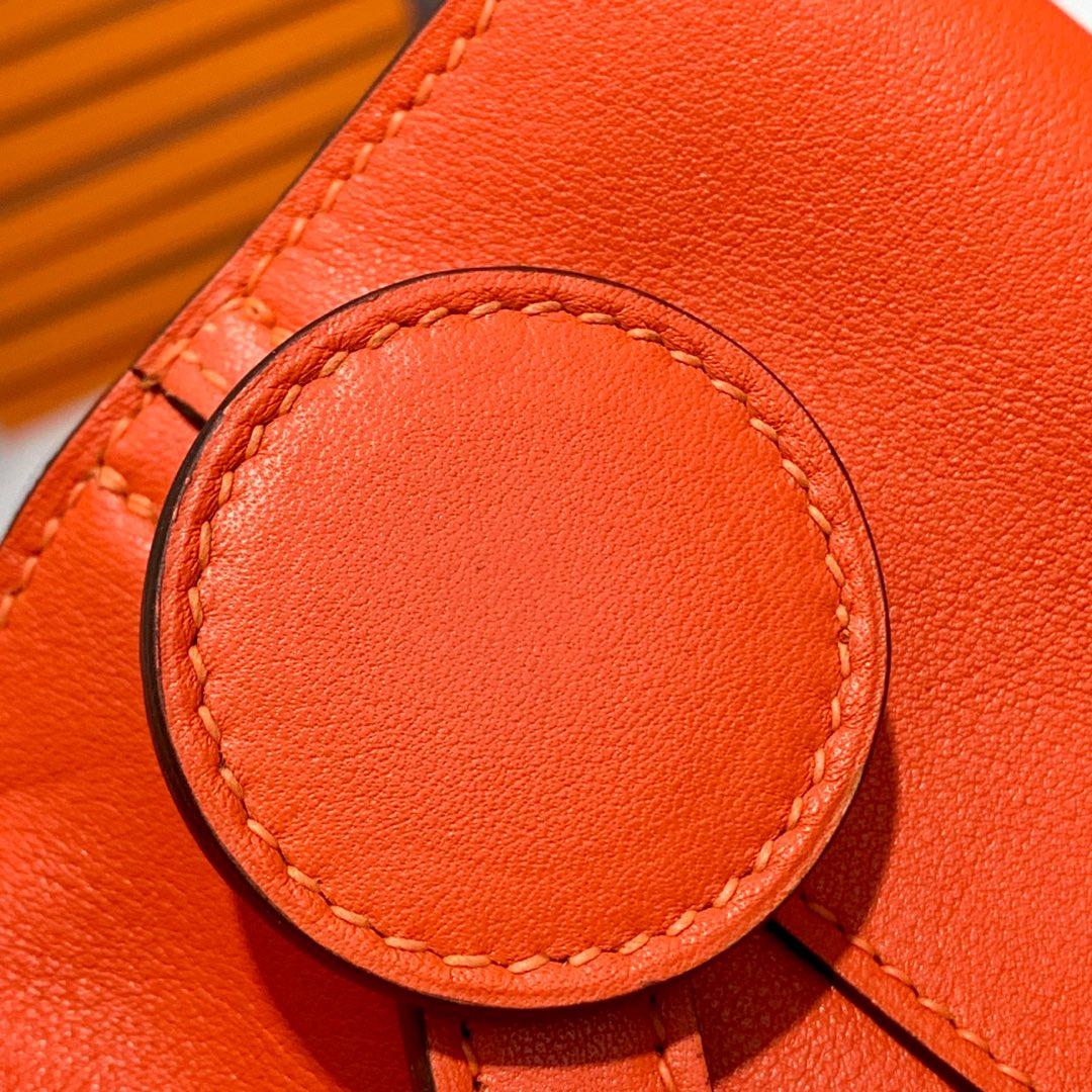 订制 爱马仕新款菜篮子包 Hermes Licol 橙色顶级Swift牛皮女士手提单肩包