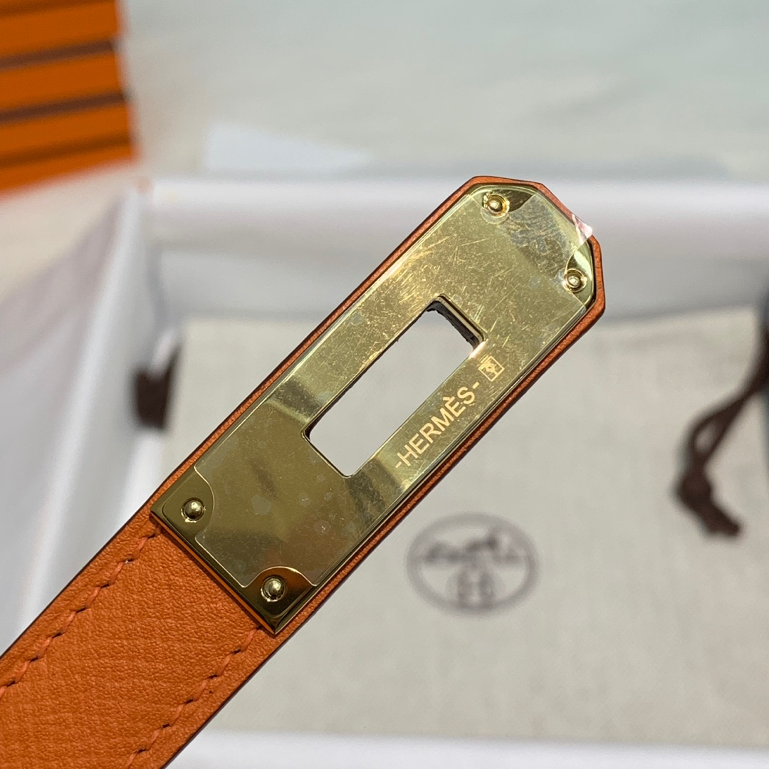 爱马仕女士皮带 Hermes橙色epsom牛皮Kelly腰带皮带均码 金银扣