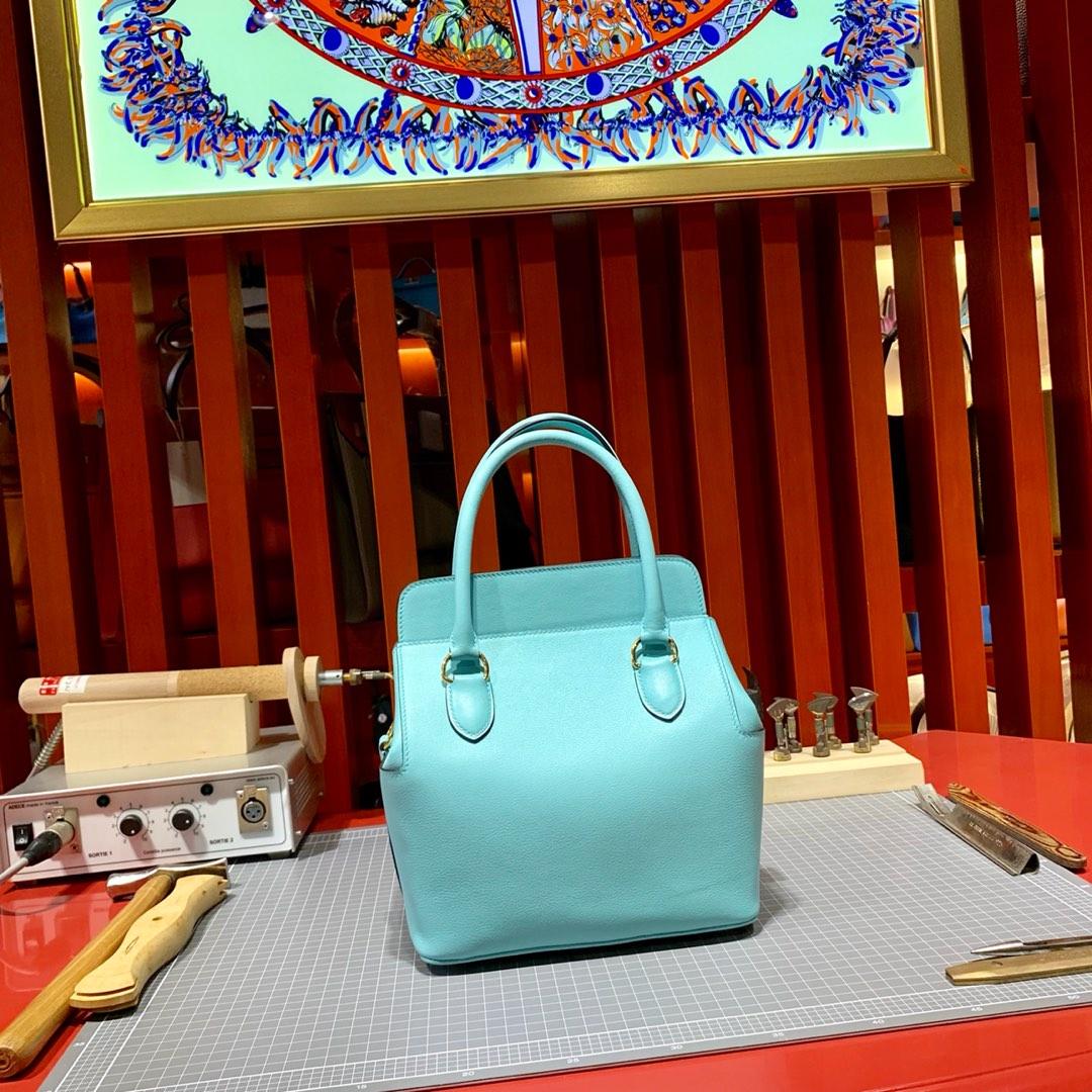 爱马仕Toolbox包包20CM 马卡龙蓝色顶级Swift牛皮盒子包手提包 金扣