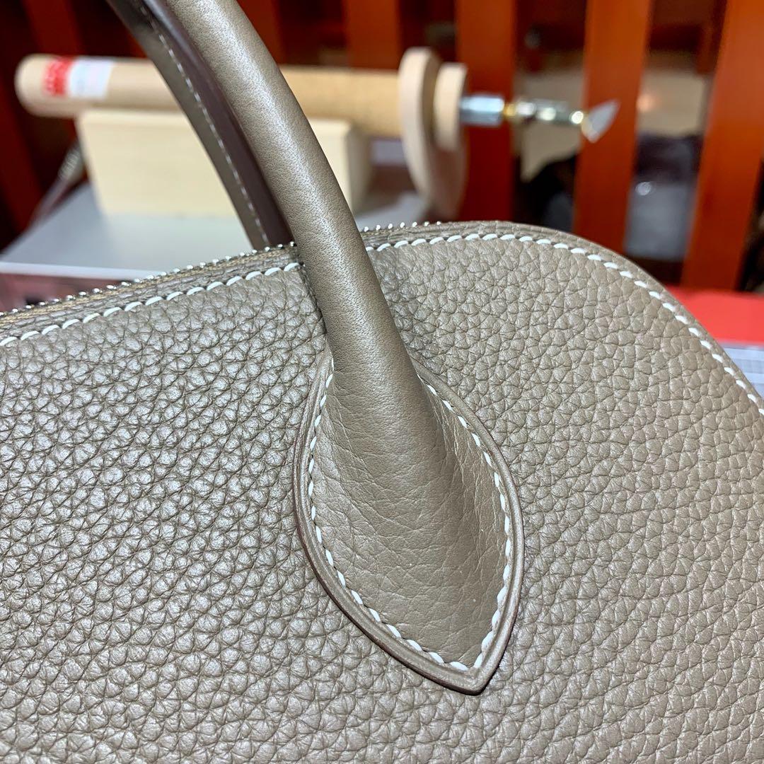 爱马仕保龄球包价格 Hermes Bolide31CM 大象灰原厂荔枝纹牛皮 银扣