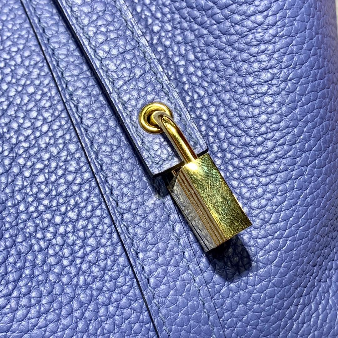 爱马仕Picotin女包 Hermes进口Togo牛皮菜篮子包水桶包18CM 7E明蓝色