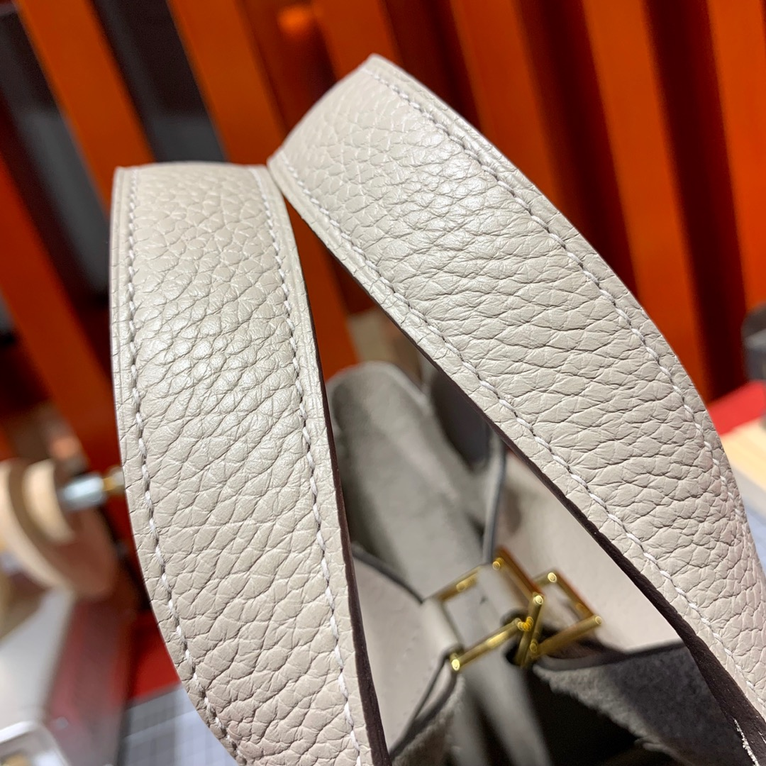Hermes Picotin Lock18CM 爱马仕M80沥青灰牛皮菜篮子包 金扣/银扣