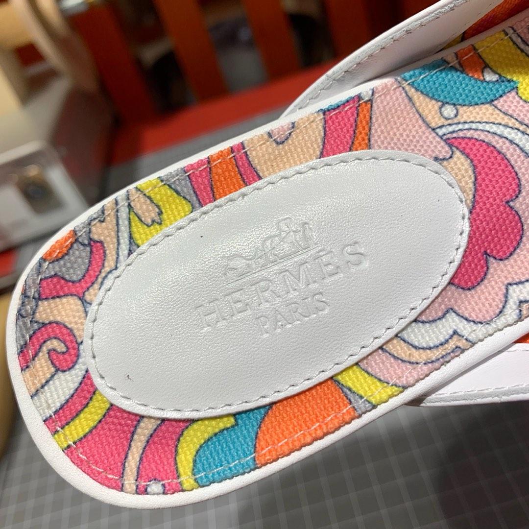 爱马仕穆勒鞋 Hermes OZ mule白色牛皮Kelly扣凯莉拖鞋女款凉鞋