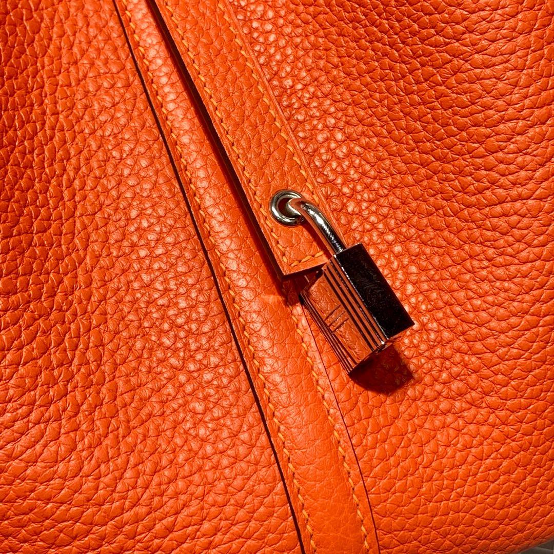 爱马仕女包批发 Hermes Picotin22CM 火焰红进口Togo皮菜篮子包 银扣