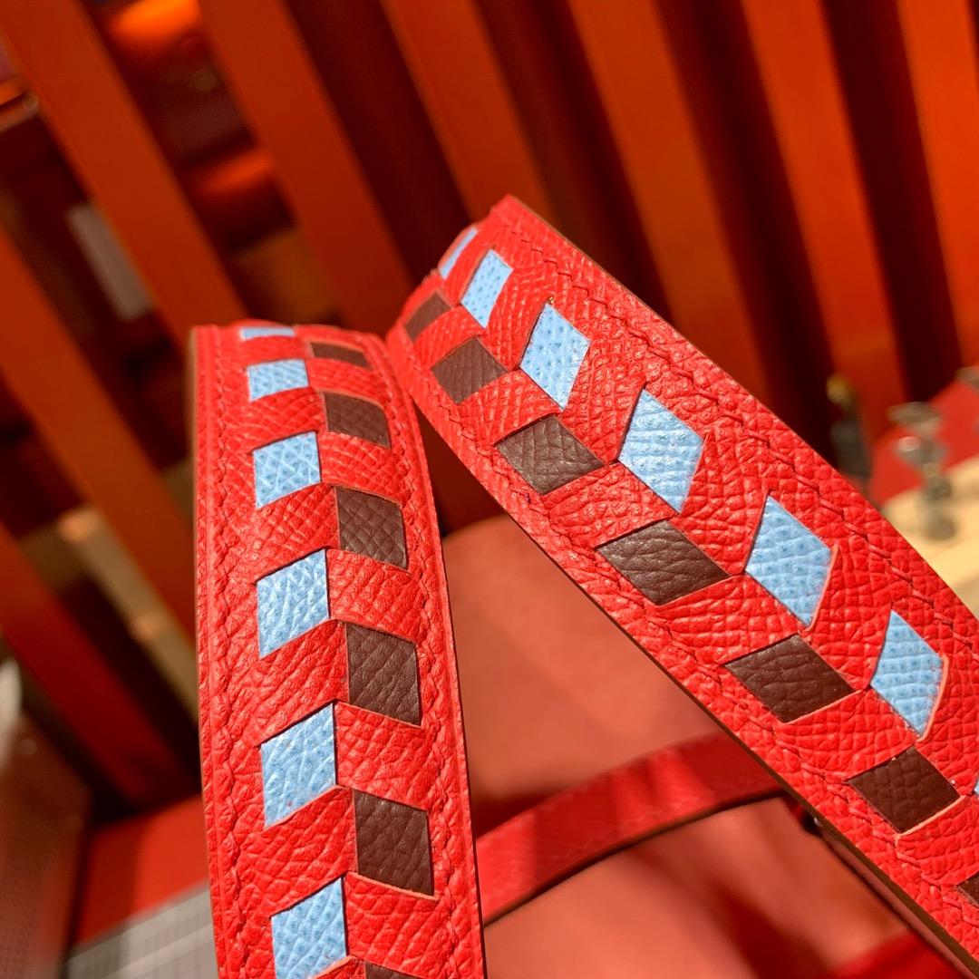 爱马仕编织手柄菜篮子包 Hermes Picotin18CM 心红色顶级Epsom皮 银扣
