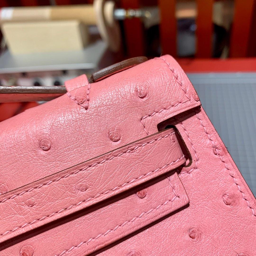 Hermes Minikelly22CM 爱马仕陶瓷粉顶级鸵鸟皮迷你凯莉包一代 金扣
