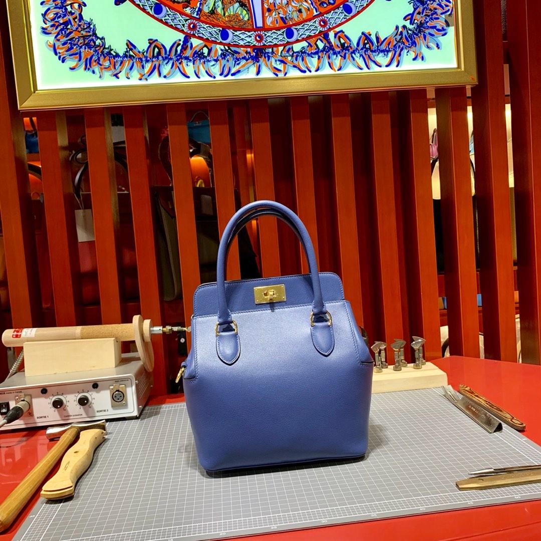 爱马仕女包批发 Hermes Toolbox20CM 明蓝色顶级Swift牛皮牛奶盒子包