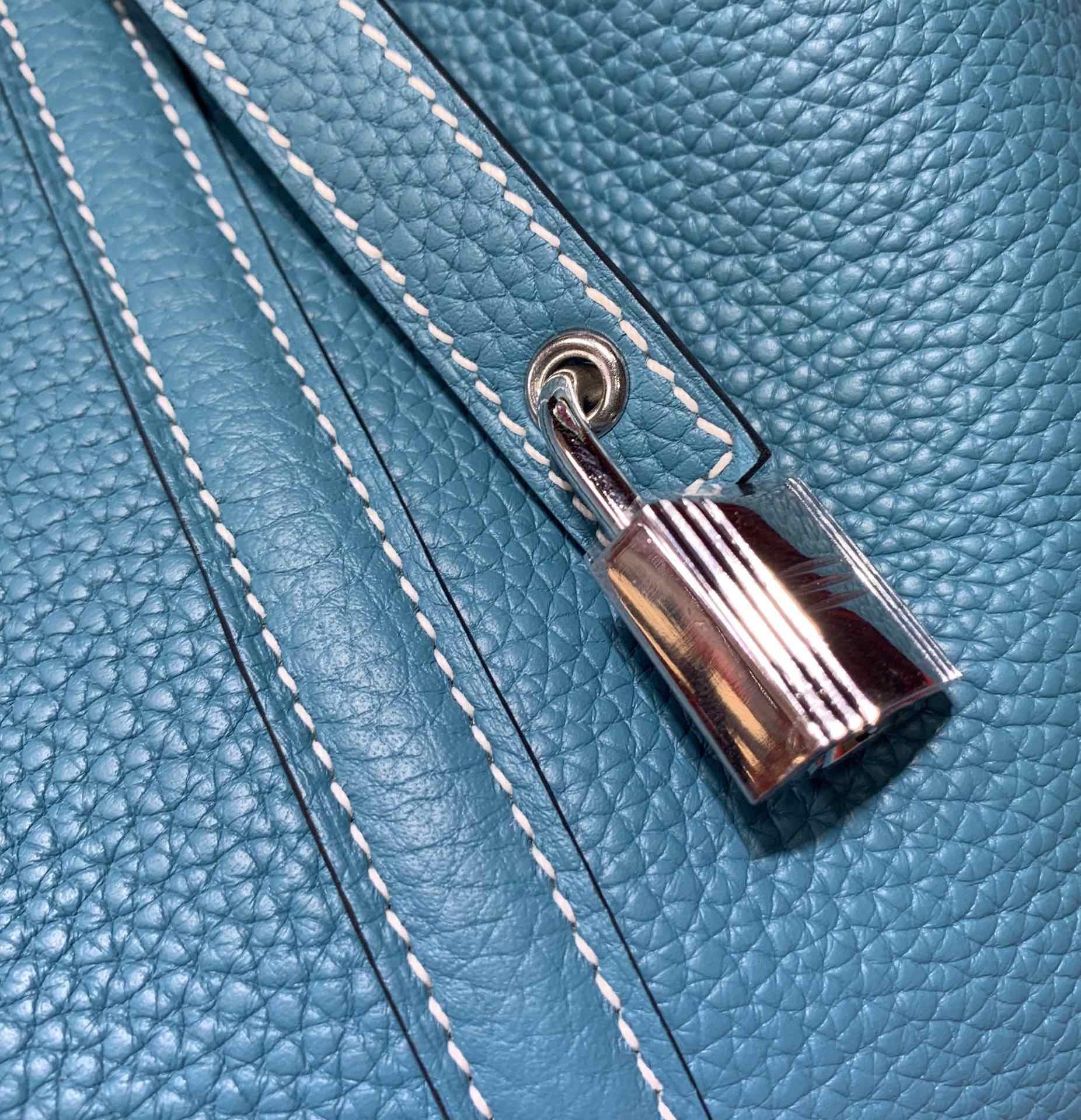 爱马仕经典女包 Hermes Picotin Lock22CM 牛仔蓝Togo皮菜篮子包手提包