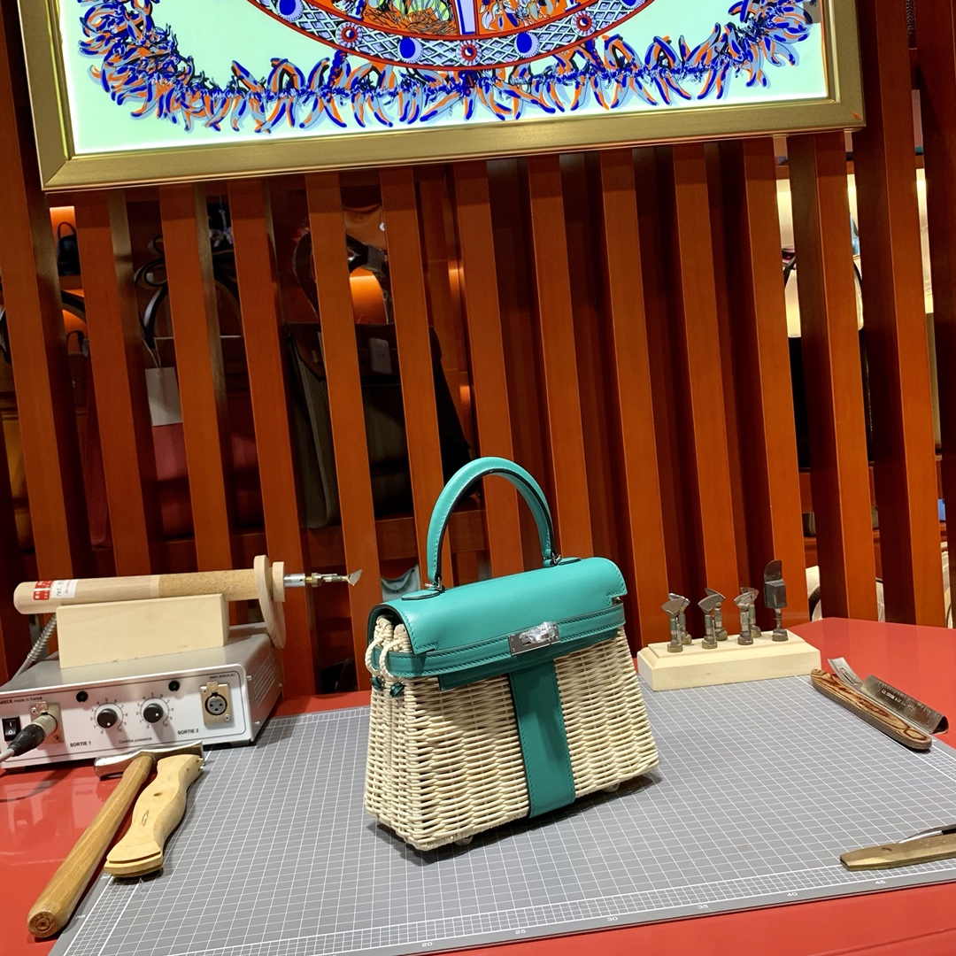 Hermes Kelly Picnic 20cm 爱马仕藤条系列野餐包凯莉包 孔雀蓝山羊皮 银扣