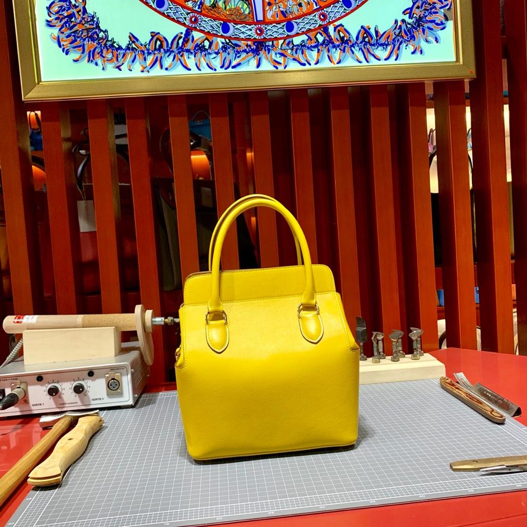 爱马仕包包官网 Hermes琥珀黄法国进口Swift皮Toolbox盒子包手提包20cm