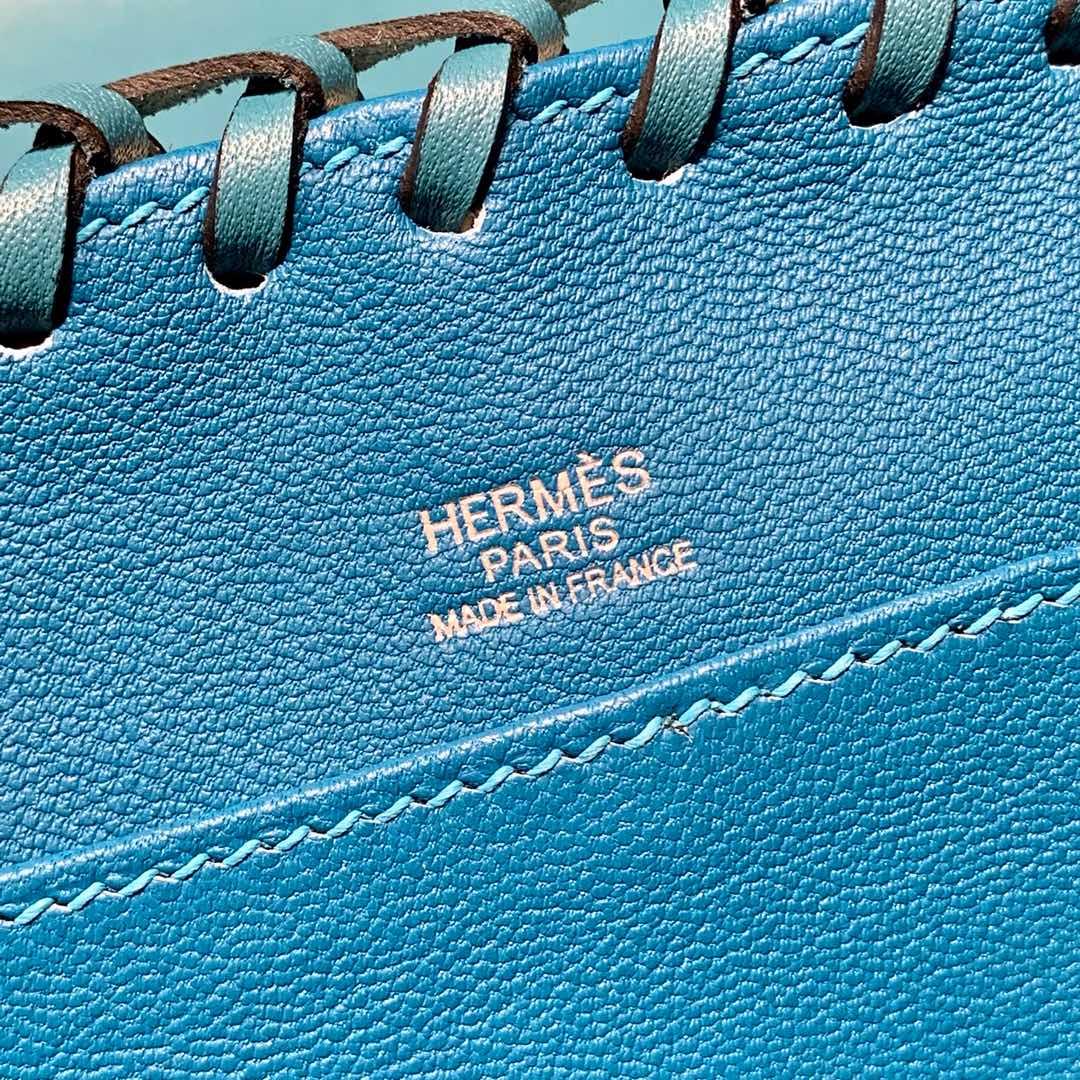 爱马仕新款凯莉包 Hermes伊兹密尔蓝山羊皮拼藤条野餐包Kelly Picnic 20cm