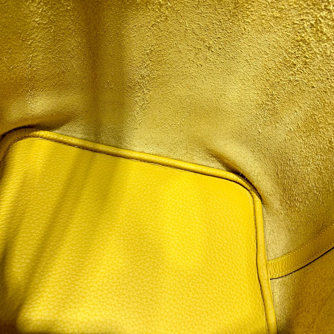 Hermes包包官网 爱马仕进口Togo皮菜篮子包Picotin22CM 琥珀黄 银扣