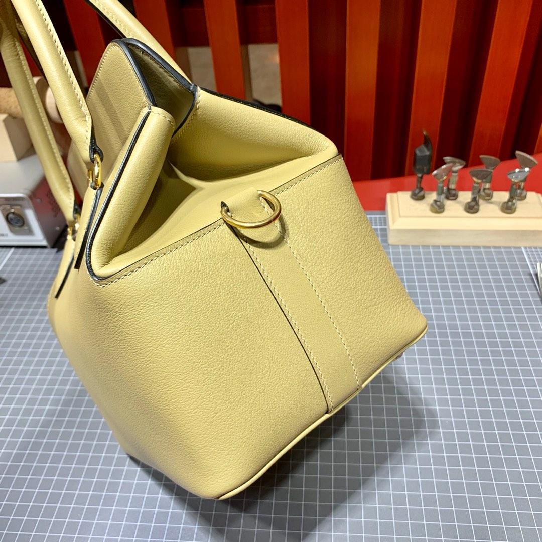 Hermes Toolbox 20CM 爱马仕进口Swift牛皮蜡线手缝工具包盒子包 风衣灰