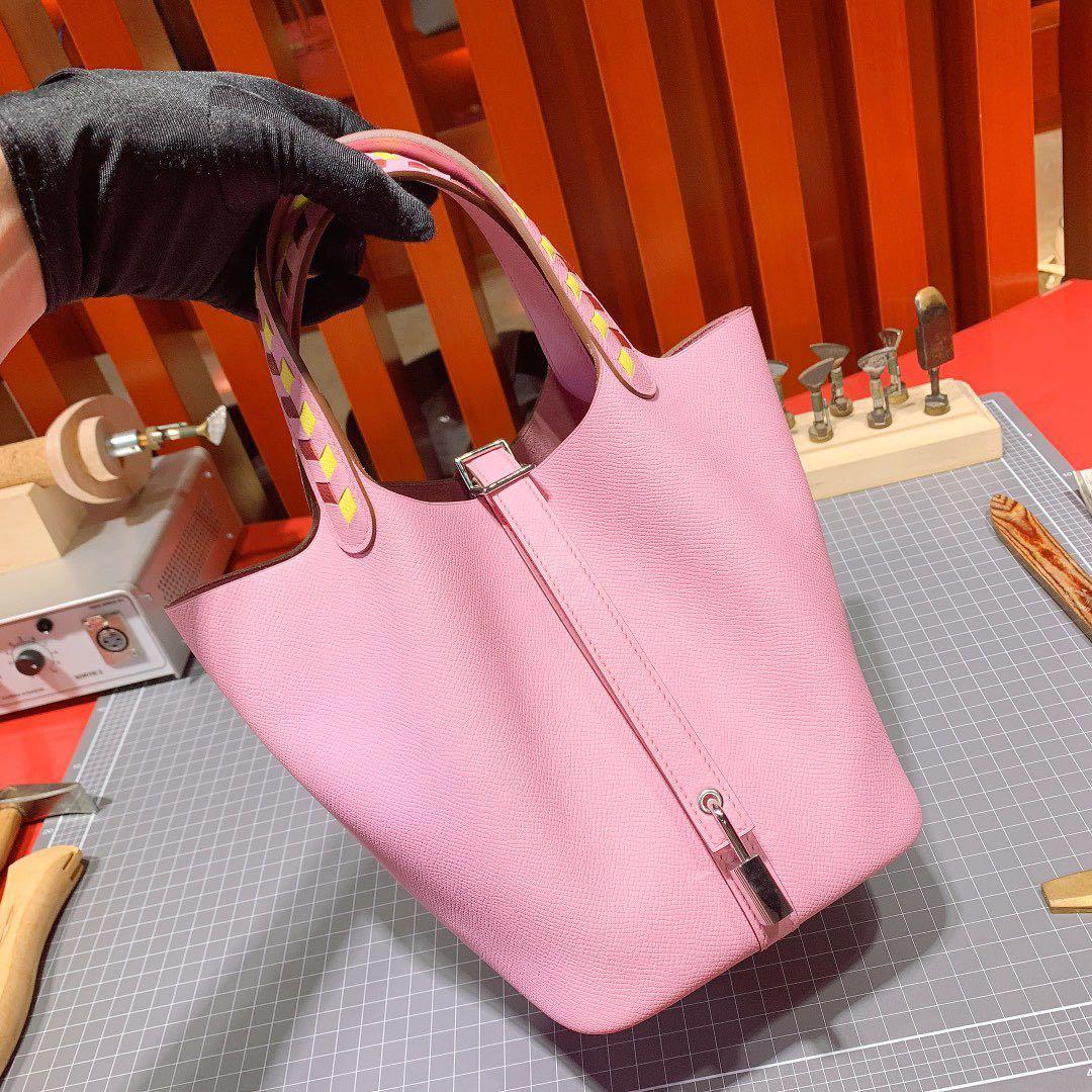 爱马仕Picotin水桶包 Hermes新色锦葵紫编织手柄菜篮子包18CM 银扣