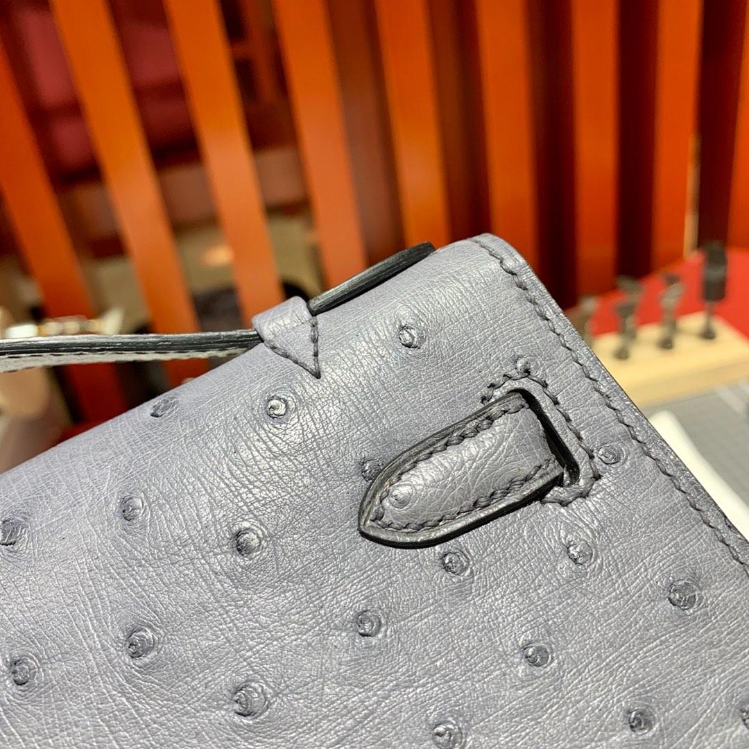 爱马仕迷你凯莉包一代 Hermes玛瑙灰顶级鸵鸟皮Minikelly手包22cm 银扣