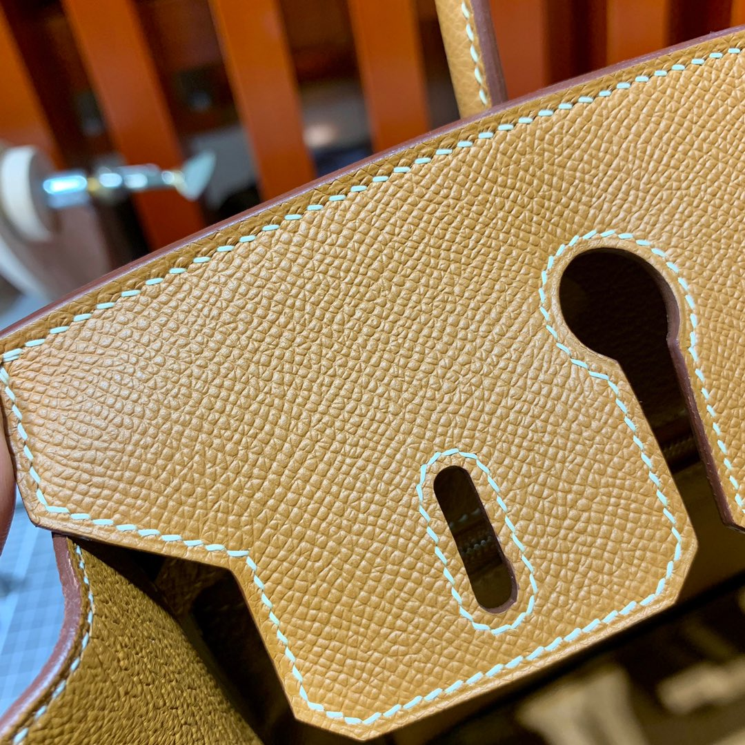 Hermes包包官网 爱马仕铂金包Birkin25CM 土黄色手掌纹牛皮 银扣