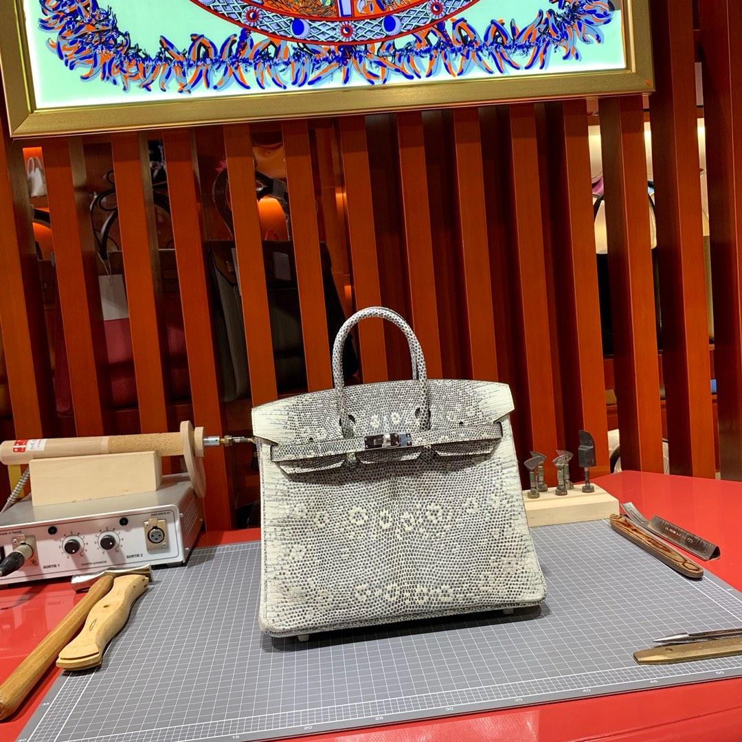 现货 Hermes Birkin25CM 爱马仕喜马拉雅色进口蜥蜴皮铂金包 银扣