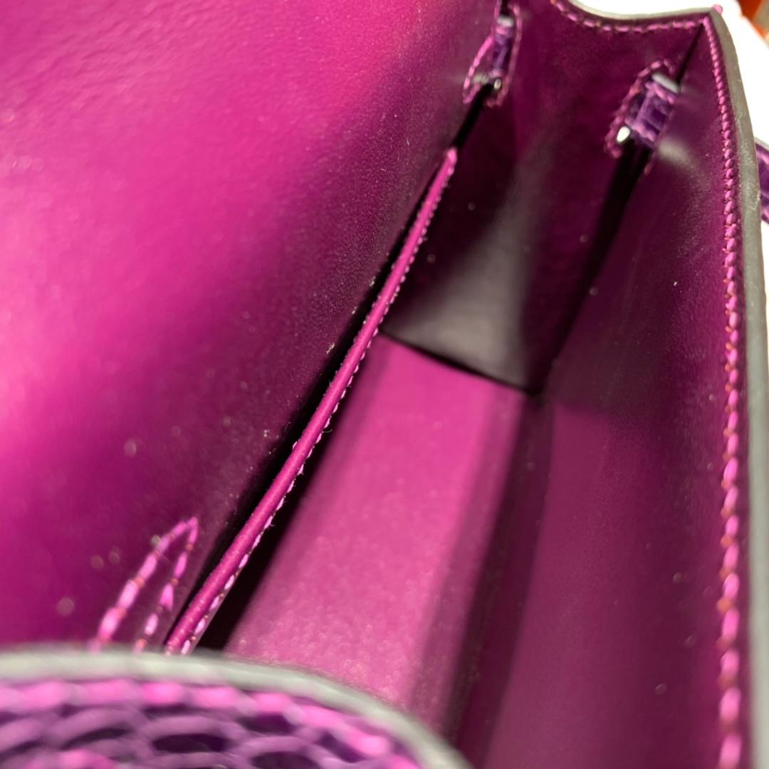 爱马仕迷你凯莉包2代 Hermes Minikelly19CM 葡萄紫亮光鳄鱼皮 金扣