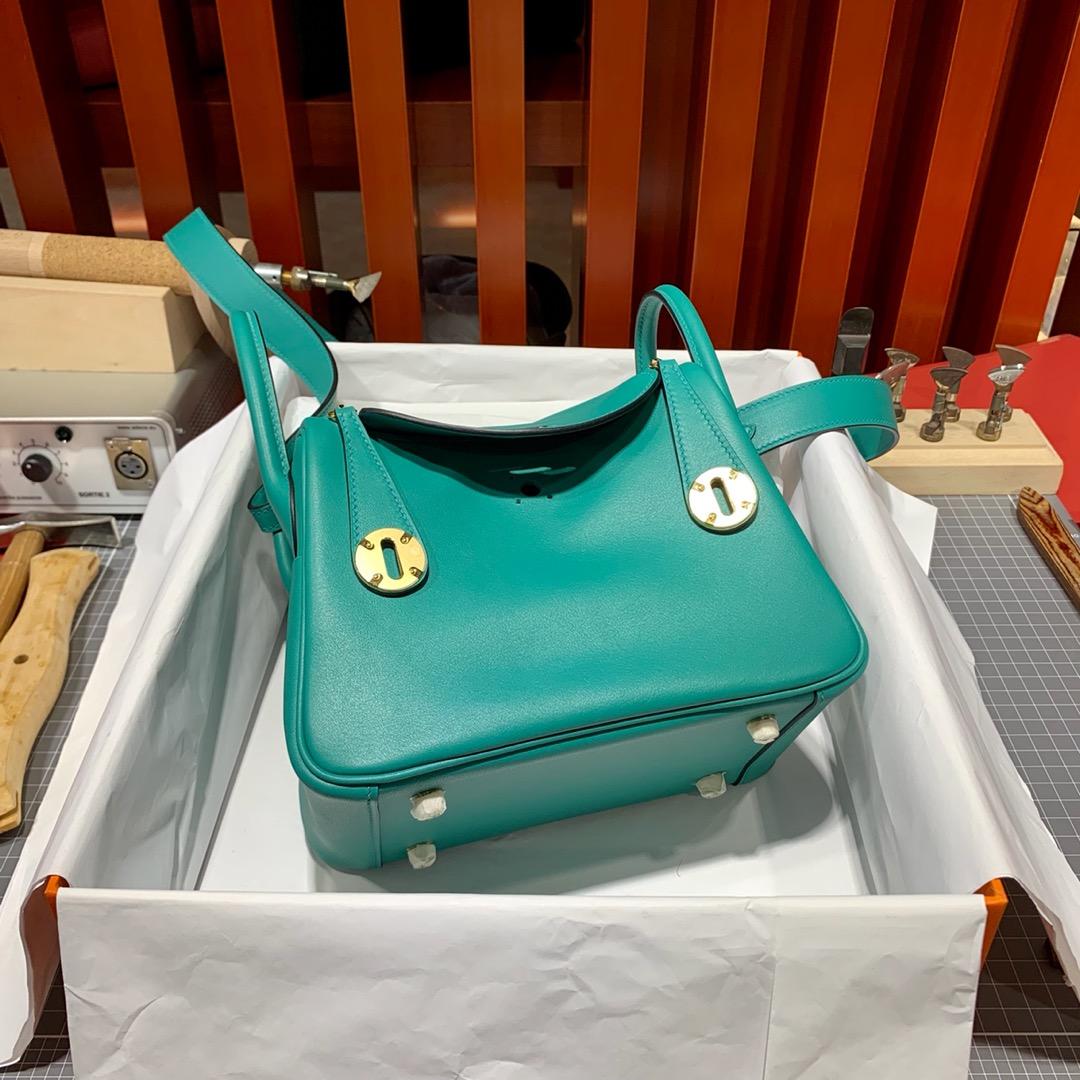 Hermes女包批发 爱马仕孔雀蓝原厂Swift皮迷你琳迪包Mini Lindy20cm