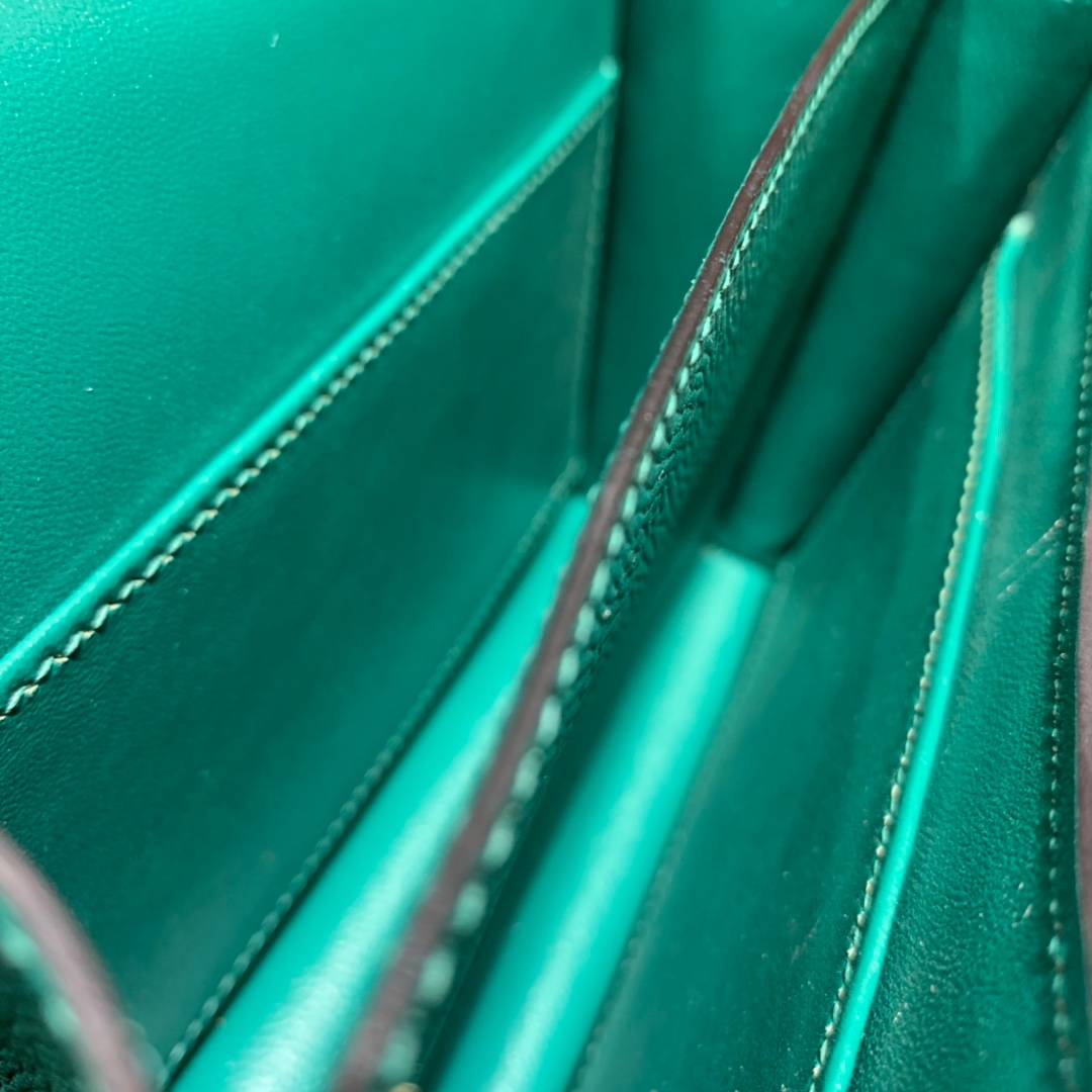 Hermes空姐包批发 爱马仕孔雀绿Epsom掌纹牛皮康斯坦包19cm 金扣