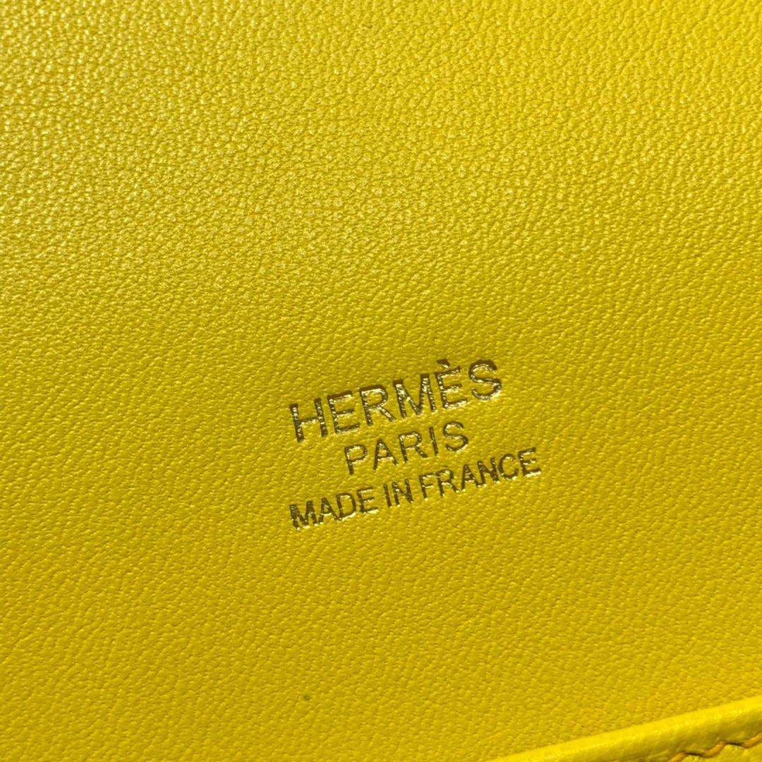 Hermes包包官网 爱马仕琥珀黄原厂Swift皮猪鼻子包Roulis24CM 金扣