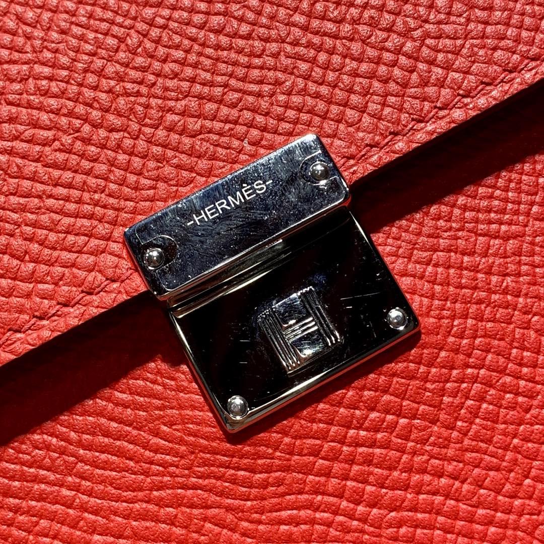 爱马仕包包价格 Hermes Clic16CM S5心红色Epsom皮单肩斜挎包 银扣
