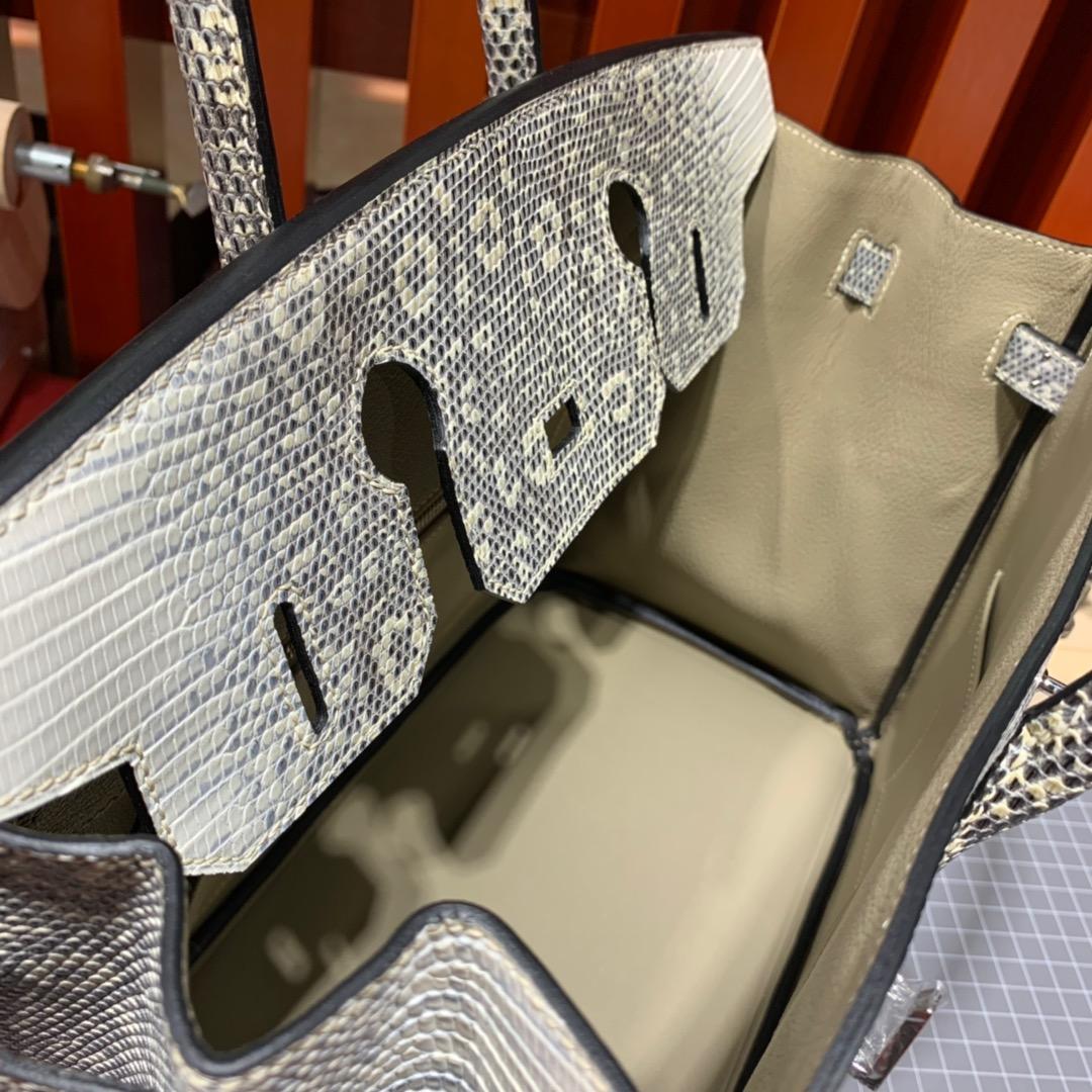 爱马仕铂金包价格 Hermes喜马拉雅色蜥蜴皮手工缝制Birkin30CM 银扣