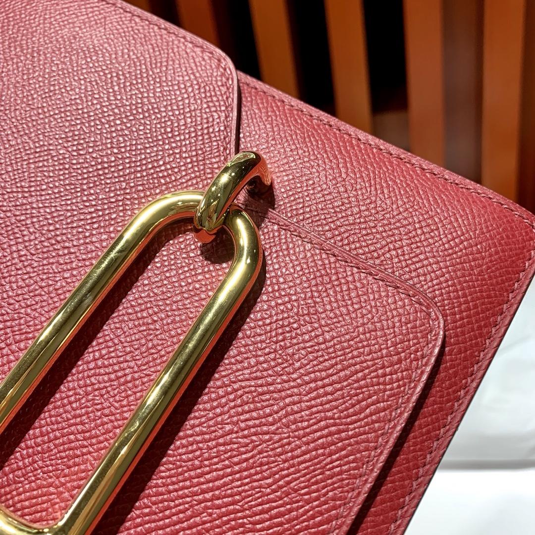 Hermes Roulis24CM 爱马仕宝石红原厂Epsom皮猪鼻子包斜挎女包 金扣