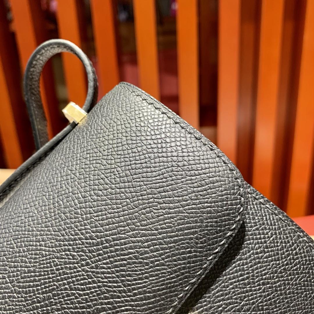 现货 爱马仕迷你康斯坦包 Hermes Mini Constance14CM 黑色Epsom牛皮 金扣