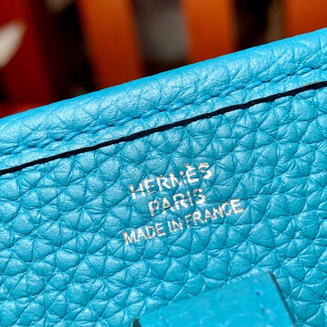爱马仕女包批发 Hermes Mini Evelyne17CMTC牛皮伊芙林包 伊滋密尔蓝 银扣
