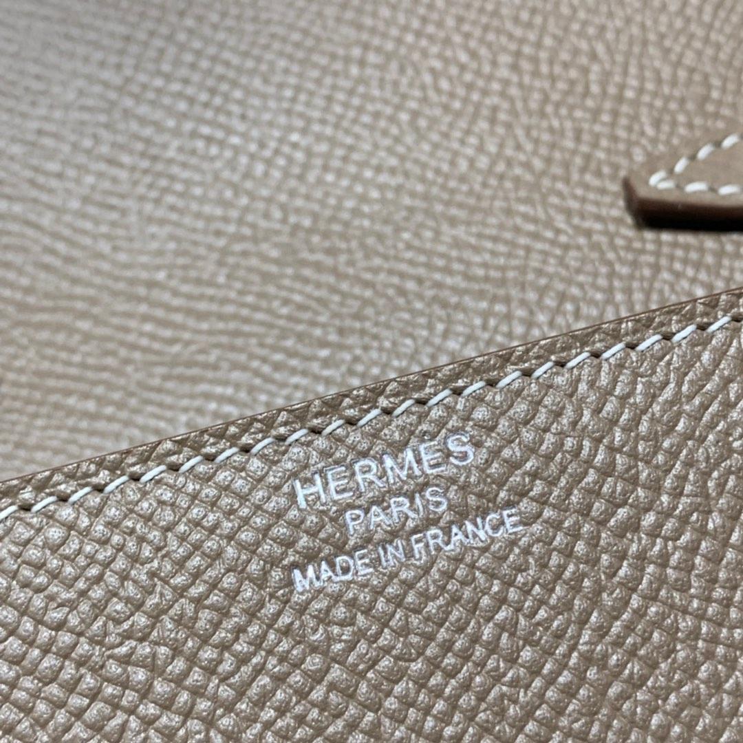 Hermes Clic16CM 爱马仕大象灰原厂Epsom皮克利奇单肩斜挎女包 银扣