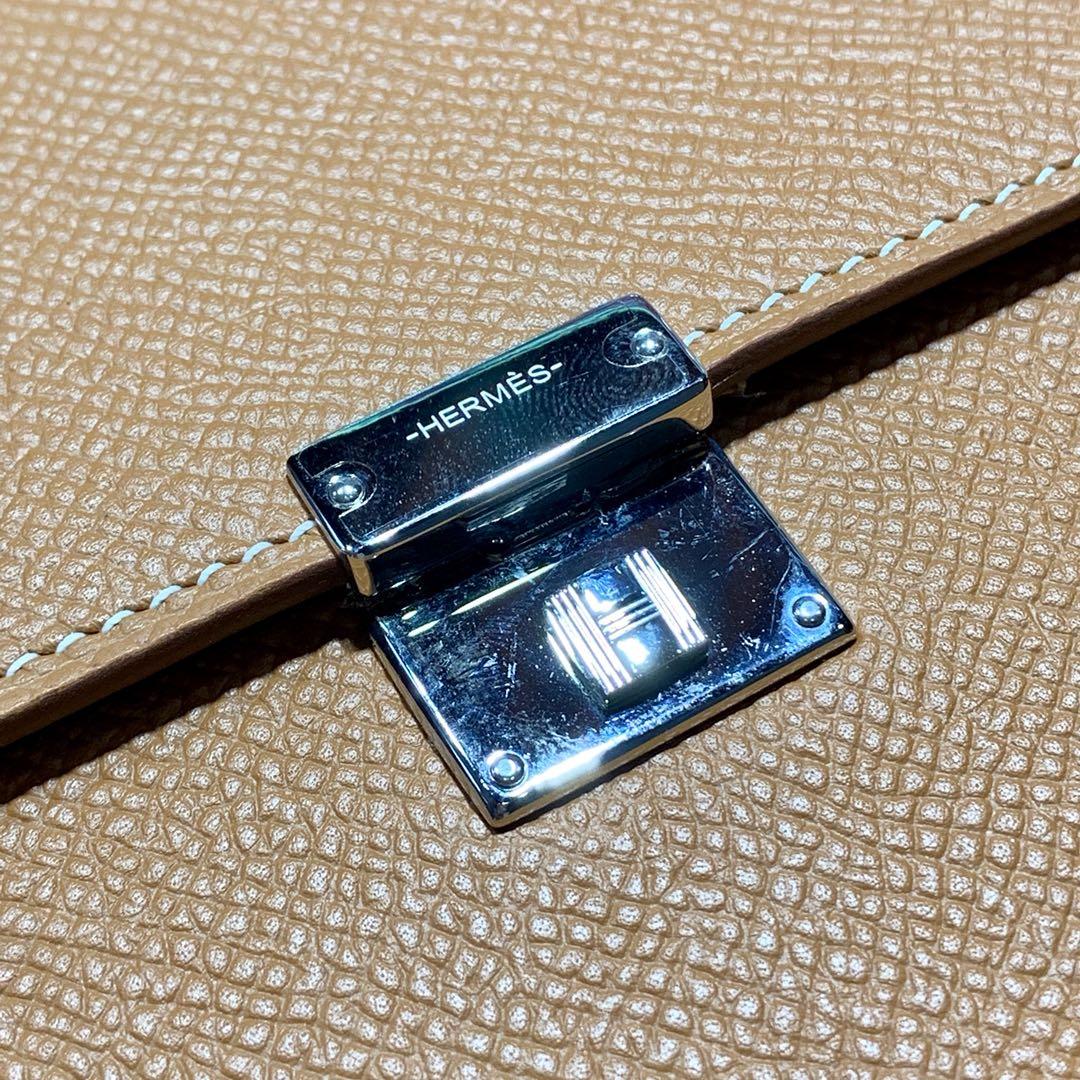 爱马仕新款女包 Hermes Clic16CM克利奇土黄色Epsom皮斜挎包 银扣