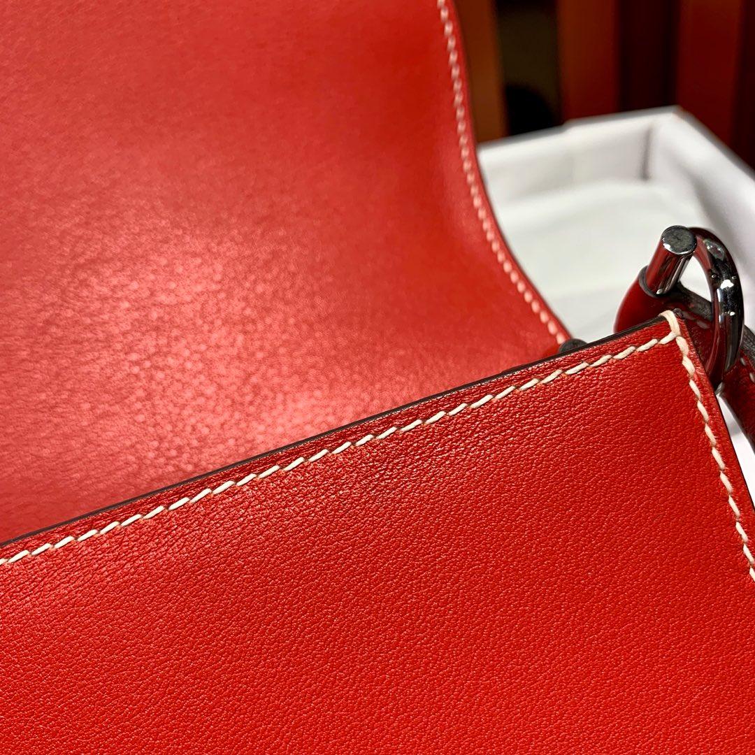 爱马仕包包价格 Hermes Roulis24CM 番茄红原厂Swift皮猪鼻子包 银扣