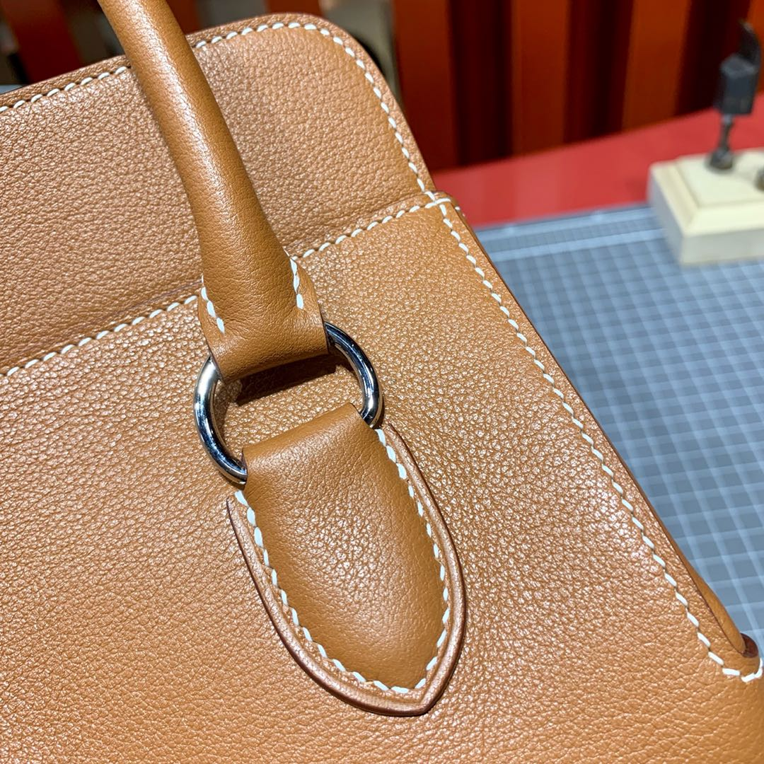 爱马仕牛奶包尺寸 Hermes金棕色进口Swift皮toolbox包包20cm 金银扣