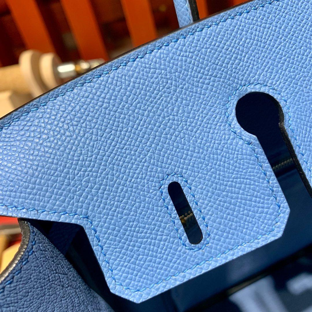 现货 爱马仕铂金包价格 Hermes Birkin25CM 天堂蓝手掌纹牛皮 金扣