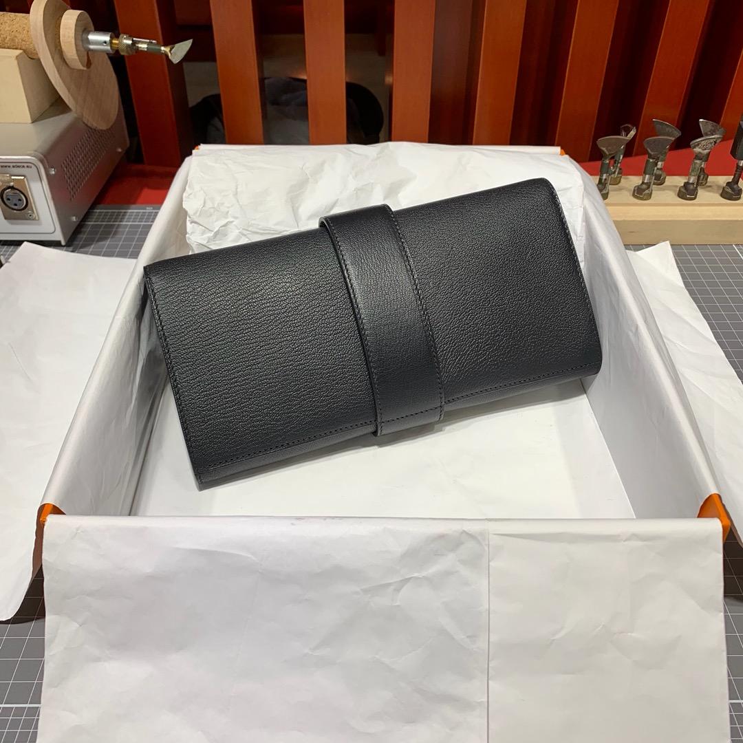 爱马仕新款CDC手包 Hermes Medor Clutch 黑色山羊皮晚宴手包