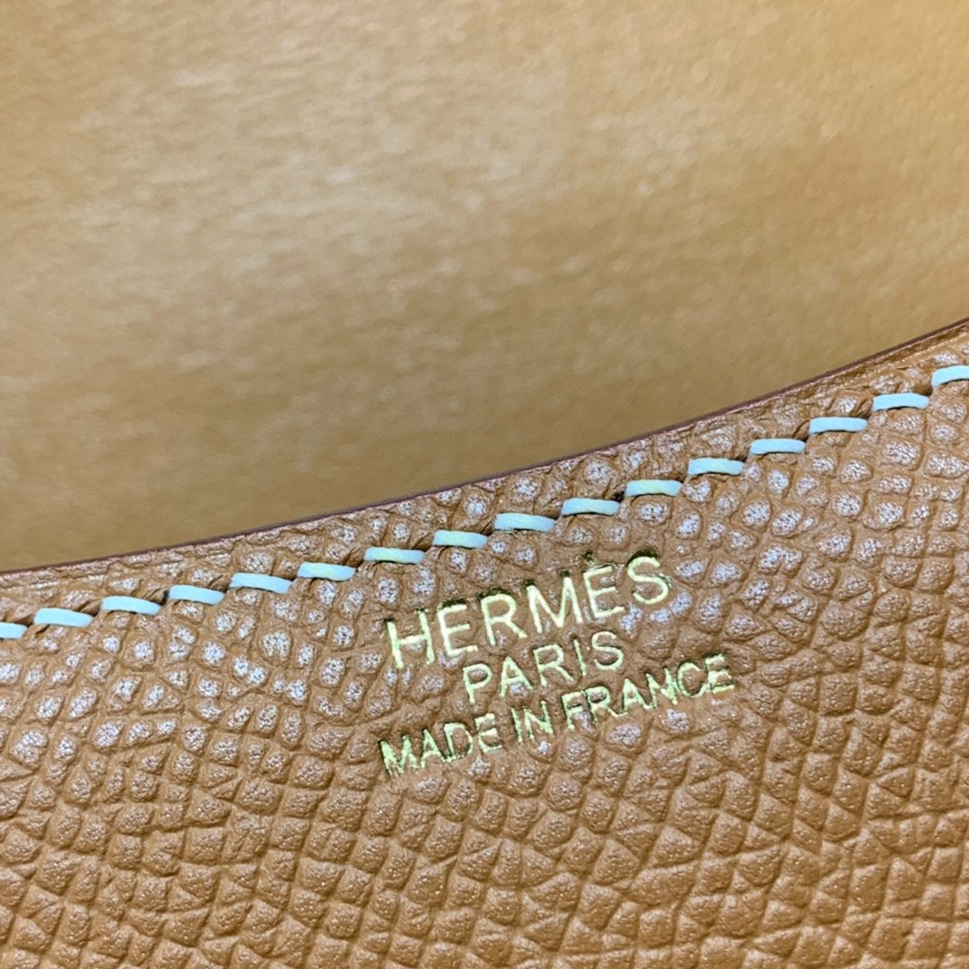 Hermes Mini Constance14CM 爱马仕土黄色Epsom牛皮迷你康斯坦包 金扣