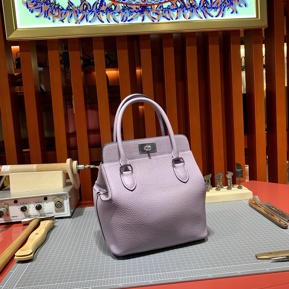 Hermes Toolbox20CM 爱马仕芋头紫togo皮牛奶包手提单肩包 银扣