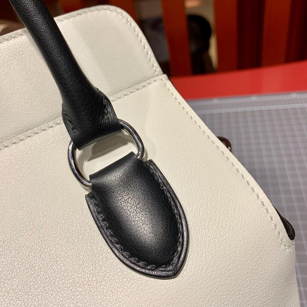 爱马仕拼色牛奶包 Hermes Toolbox20cm 三拼色进口Swift皮 银扣