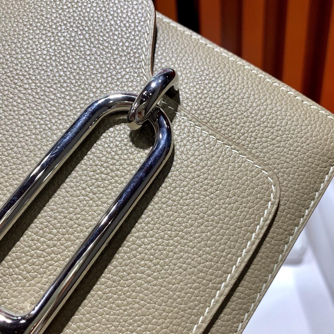 爱马仕猪鼻子包价格 Hermes Roulis24CM 大象灰Evercolor皮 银扣