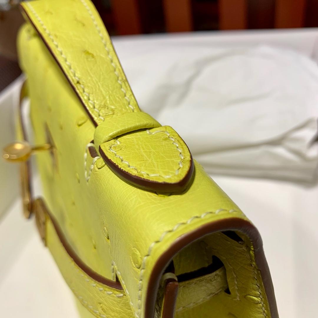 现货 Hermes Minikelly Pochette 爱马仕顶级鸵鸟皮迷你凯莉包 柠檬黄 金扣