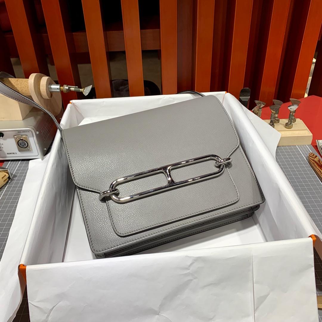 爱马仕猪鼻子包批发 Hermes Roulis24CM 铁灰色Evercolor皮 银扣