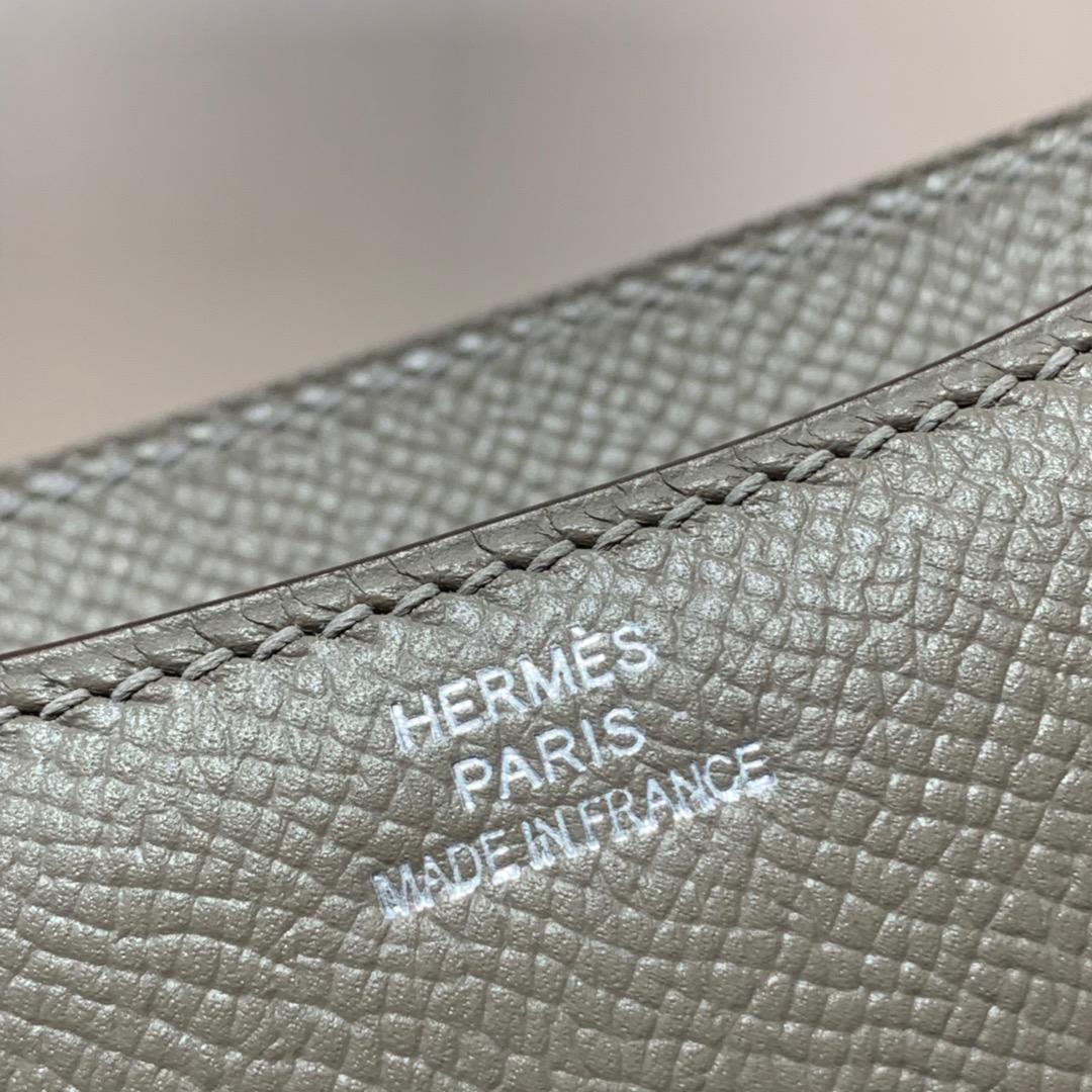 爱马仕女包价格 Hermes Constance19CM 沥青灰掌纹牛皮空姐包 银扣