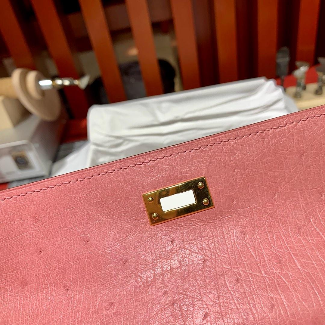 爱马仕迷你凯莉包一代 Hermes陶瓷粉顶级鸵鸟皮Minikelly手包 金扣