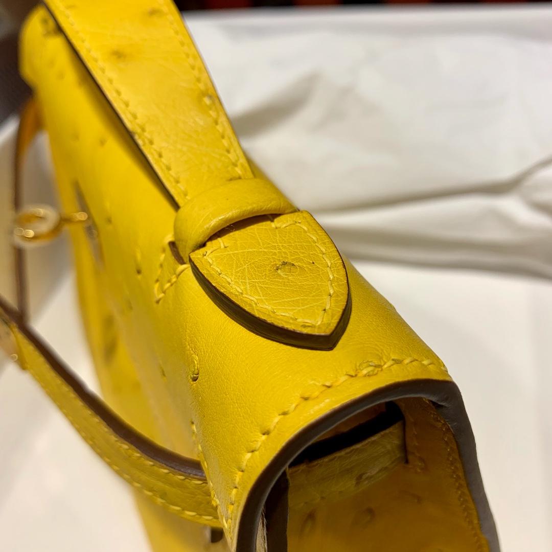 现货 爱马仕迷你凯莉包价格 Hermes Minikelly22CM 琥珀黄顶级鸵鸟皮 金扣