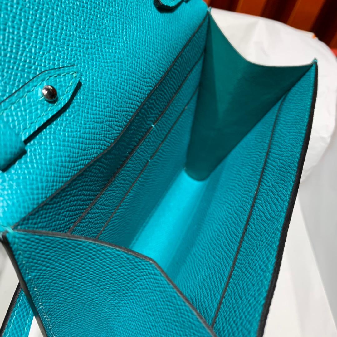 Hermes包包批发 爱马仕7F孔雀绿Epsom皮Clic16cm克利奇单肩女包 银扣