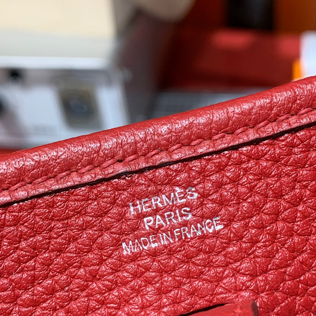 Hermes Mini Evelyne17CM 爱马仕原厂TC牛皮伊芙琳包 爱马仕红 银扣
